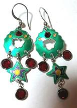 VINTAGE STERLING SILVER ENAMEL GREEN MOD STAR RED DANGLES CHANDELIER EAR... - $85.00