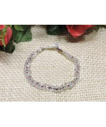 Silver Plated Pink Austrian Crystal Bracelet Double Chain Rope Rhodium S... - $16.80