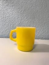 Vintage Fire King Anchor Hocking Milk Glass Coffee Cup Yellow Mug D Handle  - $8.59
