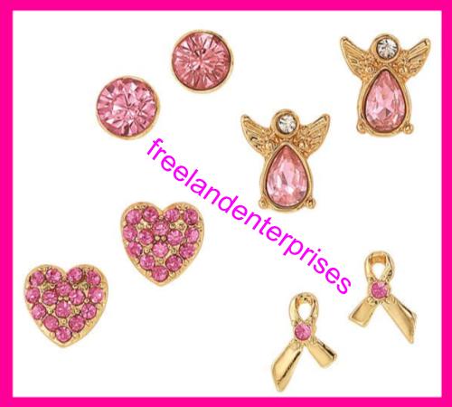 Breast Cancer Pink Hope Stud Earring Pack fo Four Goldtone Earrings 2018