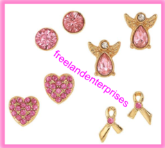 Breast Cancer Pink Hope Stud Earring Pack fo Four Goldtone Earrings 2018 - $15.83