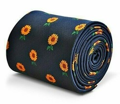 Frederick Thomas Navy Blue Mens Tie with Sunflower pattern - $18.70