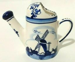 Delft Blue Windmill Watering Can Creamer Miniature Dutch Pottery Earthen... - $18.69