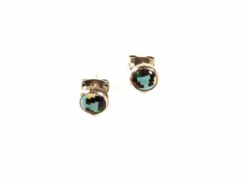 Native American Sterling Silver Turquoise ETC Pierced Earrings Unbranded 53016