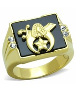 CLEARANCE--------MEN'S GOLD TONE SYNTHETIC ONYX  SHRINER CRYSTAL RING SI... - $14.00