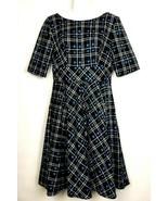 Belle Poque Black Blue Plaid Retro 1950's Style Dress Midi Pleated Flare... - $30.28