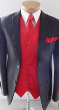 10-F Fire Red XS - 6X Vest Waistcoat and Neck tie Hanky Set Prom Wedding... - $19.78+