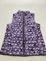Lands End Girls M 10 12 Purple Heart Puffer Vest Down Alternative Fill - $19.99