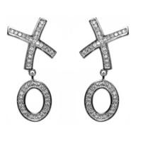 "Pave Clear "" X O"" Dangle EARRINGS-BRIDAL - $29.69"