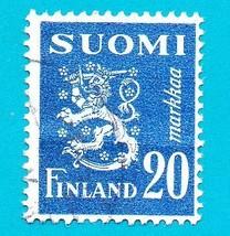 Finland Used Postage Stamp (1950) 20m Lion Rampart Scott # 296 - $1.99