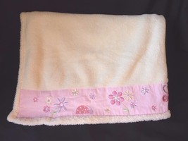 Small Wonders Cream Beige Butterfly Flowers Ladybug Baby Blanket Embroid... - $50.22 CAD