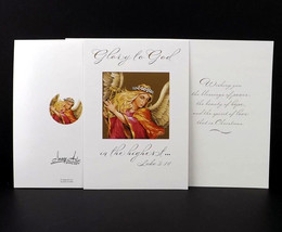 Religious Christmas greeting card harp angel gold accents Glory to God I... - $9.34