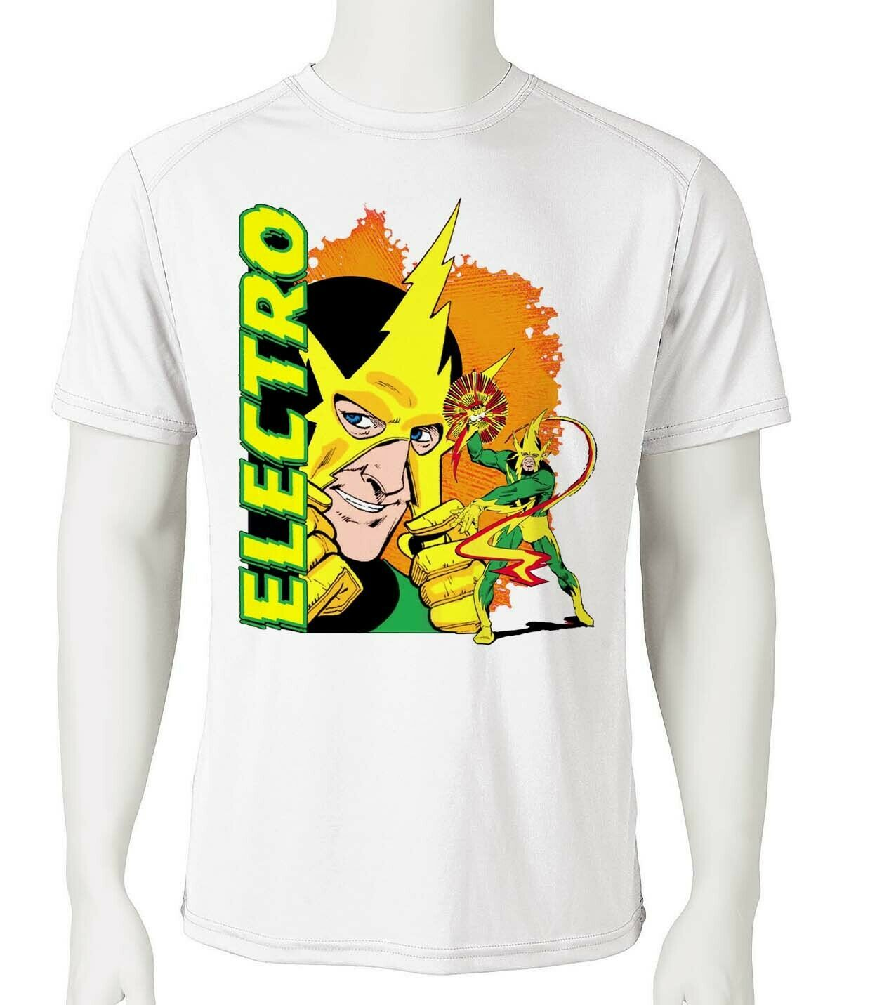 Electro Dri Fit graphic T-shirt moisture wicking superhero comic book SPF tee
