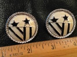 """1.75"""" wide pierced earrings enamel black white stars fireworks Vintage F... - $2.80"""