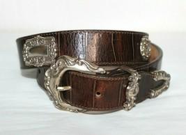 ❤️ BRIGHTON USA Croco-Embossed Leather Belt Medium Floral Hardware GREAT... - $27.42