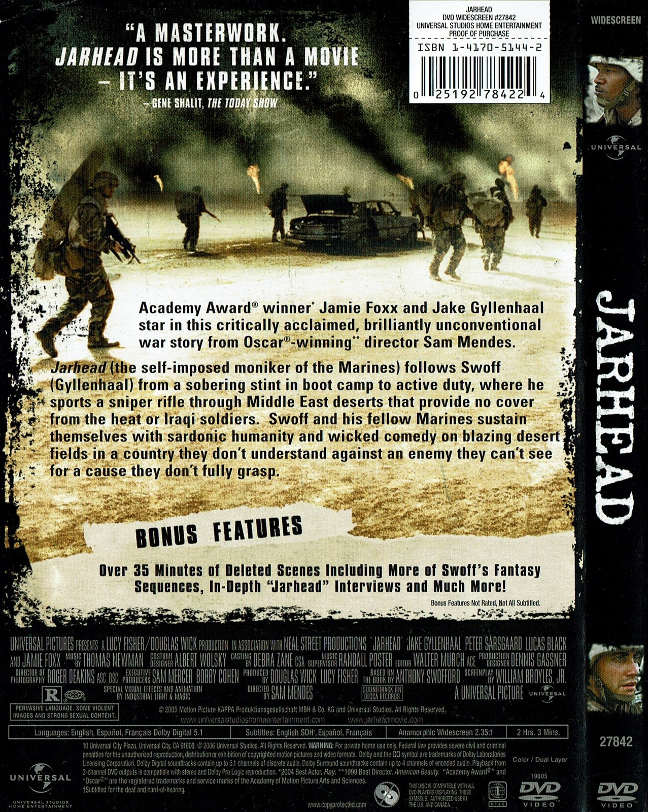 Jarhead, 2006, DVD, Widescreen Edition, Jamie Foxx