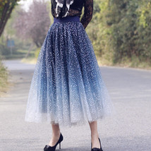 Sequined Tulle Midi Skirt Outfit Navy Gold Sparkly Midi Bridesmaid Skirt Custom image 1