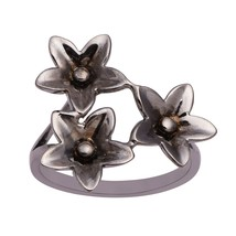 "925 Sterling Silver "" PLUMERIA Triplet Flower"" Black Gold Rhodium Art De... - $19.78"