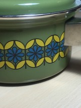 Vintage 70s Enamelware Pot and Lid - MCM Green with Blue & Yellow Flowers image 2