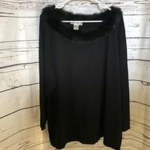 Dressbarn Woman black fur lined evening sweater - $33.66