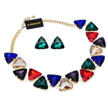 Jerollin Jewelry Set Alloy Gold Color Chain 3 Colors Triangular Glasses ... - $23.29