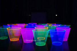 25ct Neon Assorted Blacklight Reactive 9oz Party Cups + Free Blacklight ... - $9.95+