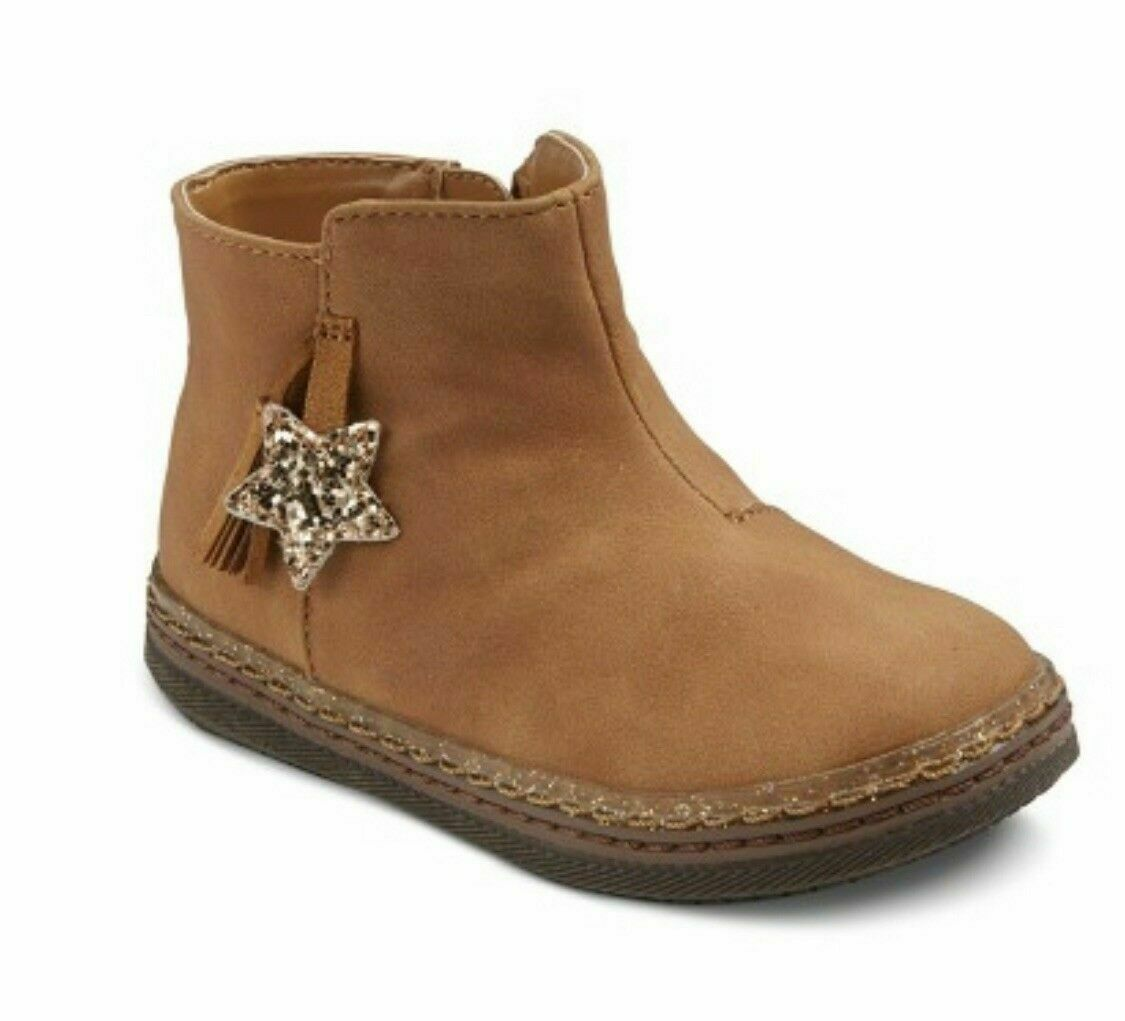 New Cat & Jack Toddler Girl Joslyn Brown Fashion Star Ankle Bootie size 9 NWT