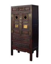 Chinese Fujian Brown Golden Carving Graphic Armoire Storage Cabinet cs2981 - €3.302,58 EUR