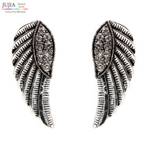 2 Colors Crystal Fashion Statement Wing Stud Earrings Women Girl Earring Factory - $7.99