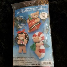 Vintage Design Works Easy Felt Christmas Teddy Bears Ornament Kit 5332 S... - $17.74