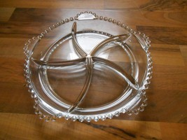 Old Vintage Elegant Glass Candlewick Divided Tray Dish Relish Bowl Plate... - $24.99