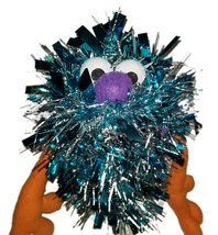 "C11 * Deluxe Custom ""Sparkly Light Blue Monster"" Sock Puppet * Custom Made - $10.00"