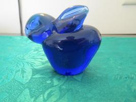 Cobalt Blue Glass Bunny Paperweight - $9.99