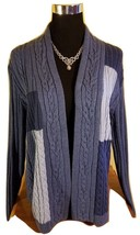 NWT CHAPS Quality Cable Knit Cardigan Sweater - Blue Patchwork  - Large - $21.24