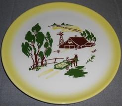1950s Brock Pottery HARVEST PATTERN Dinner Plate MADE IN CALIFORNIA - $14.84