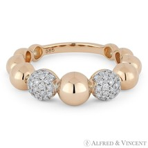 0.31ct Diamond Pave & Ball 14k Rose Gold Stackable Band Right-Hand Fashi... - $1,029.00