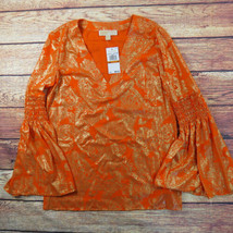 Michael Kors Poppy Gold Bell Sleeve Top Size Small MSRP $88 - $44.54