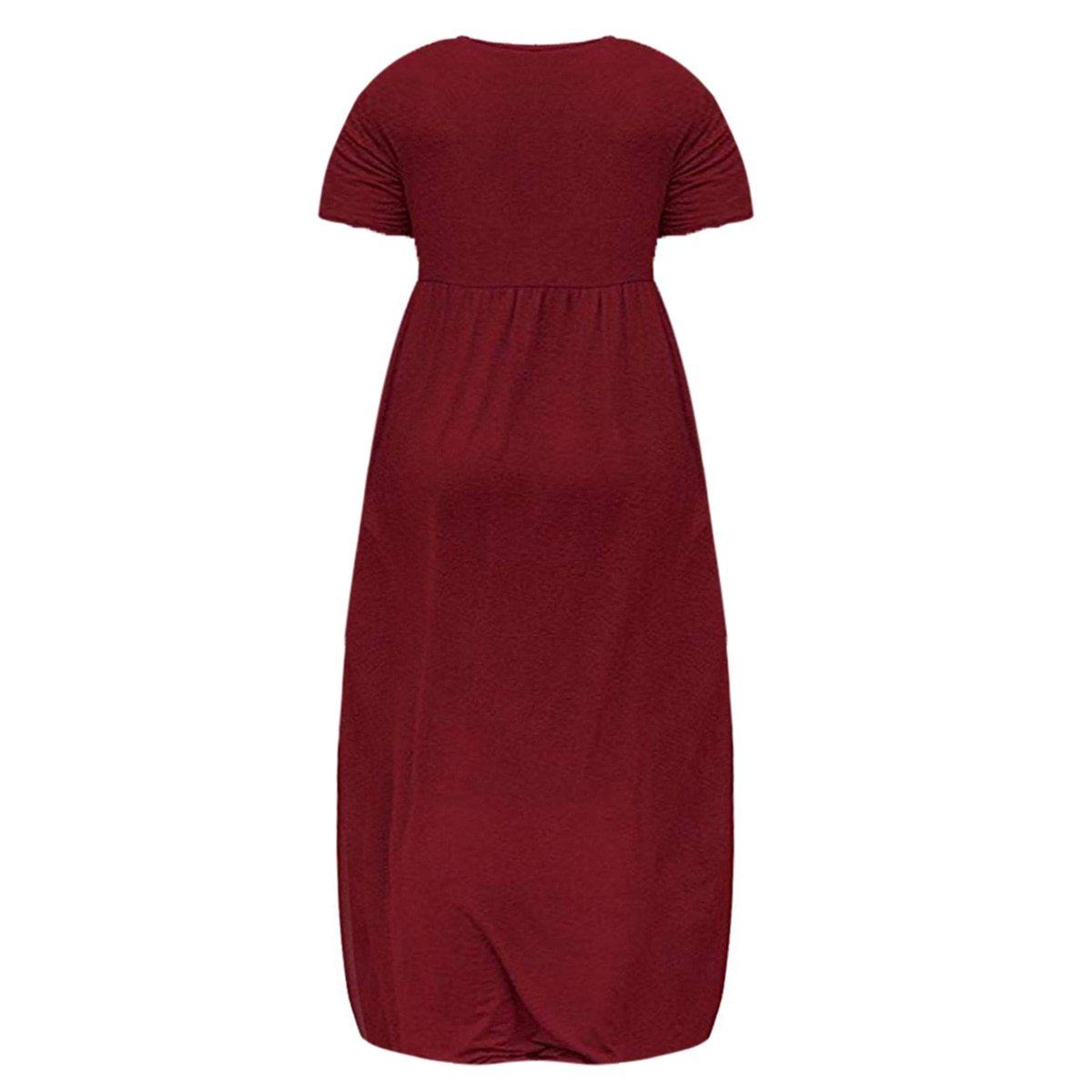 Maternity Dress Solid Color Loose Comfy Mom Dress image 4