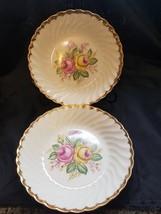 """1930-1940 Quban Royal / Royal China 22K Gold Floral Pattern 8"""" Soup Bowls (6) - $18.80"""