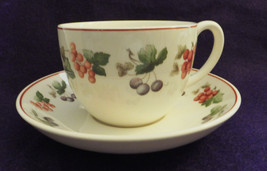 "Wedgwood Queen's Ware ""Provence"" cup & saucer's (4)ea.England,Fruit. - $39.98"