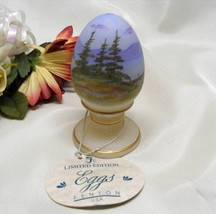 3785 Vintage Fenton Handpainted Lake Scene Egg - $50.00