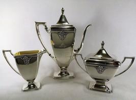 "Antique Masonic Eye 150th Anniversary ""ADORATION"" Silver Plate Tea Set Lodge 36 - $395.00"