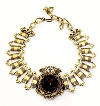 FLORENZA Ant Gold Tone Bookchain Choker Necklace W Amber Stoned Crown Center - $279.36