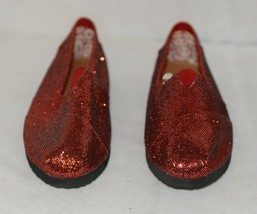 Vintage Elena01 Slip On Flat Rubber Sole Red Glitter Size 5 And Half image 2