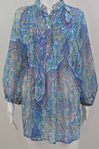 "Primary image for RALPH LAUREN Sheer Chiffon Pintuck Pleat Blue Paisley Blouse Top 1X XL 48"" Bst"