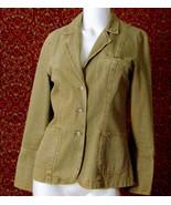 PAZO Tan striped cotton denim long sleeve blazer jacket 6 (T47-03B8G) - $21.76