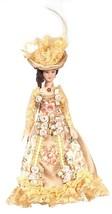 Dollhouse Miniature Victorian Lady  Fancy Floral Gown Hat Auburn Hair 1:12  - $16.98