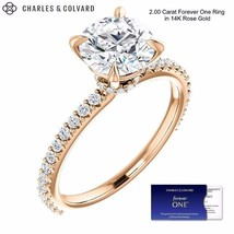 2.00 Carat Round Forever One Moissanite Ring in 14K Rose Gold (Charles&C... - $1,195.00
