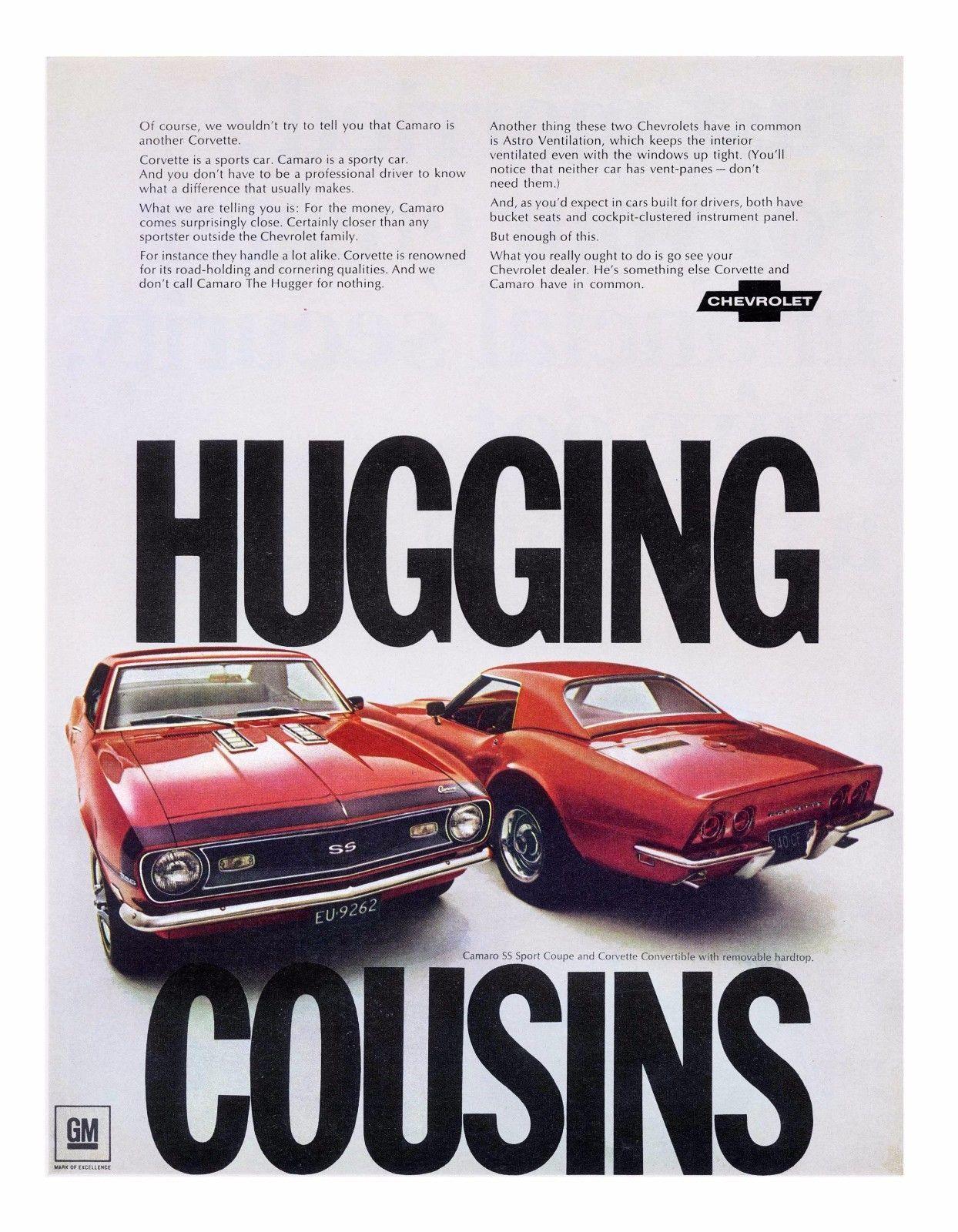 1968 Chevrolet Camaro SS and Corvette Stingray   24 x 36 INCH   sports car - $18.99