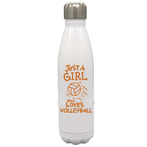 Just a Girl Who Loves Volleyball 17oz Stainless Steel Water Bottle Orang... - $34.95